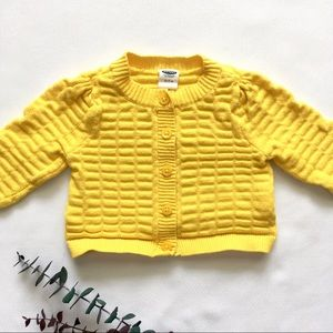 0-3M Yellow Waffled Button-up Knit